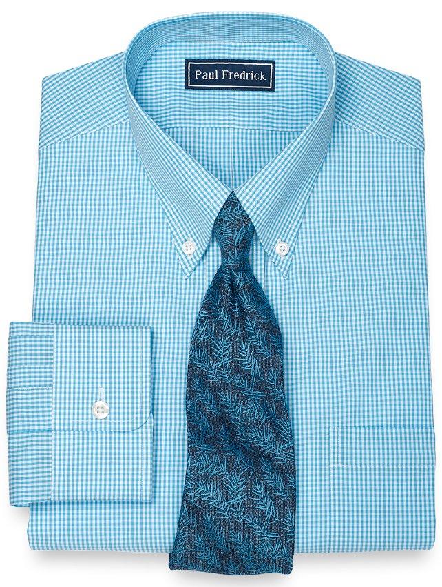 100% Cotton Mini Gingham Button Down Collar Dress Shirt