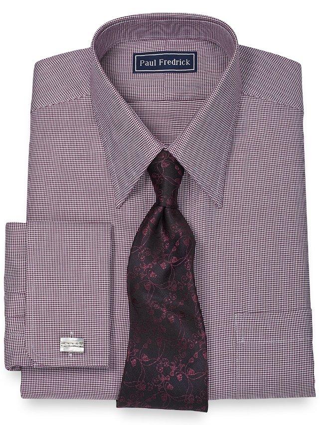 Slim Fit 100% Cotton Chevron Straight Collar French Cuff Dress Shirt