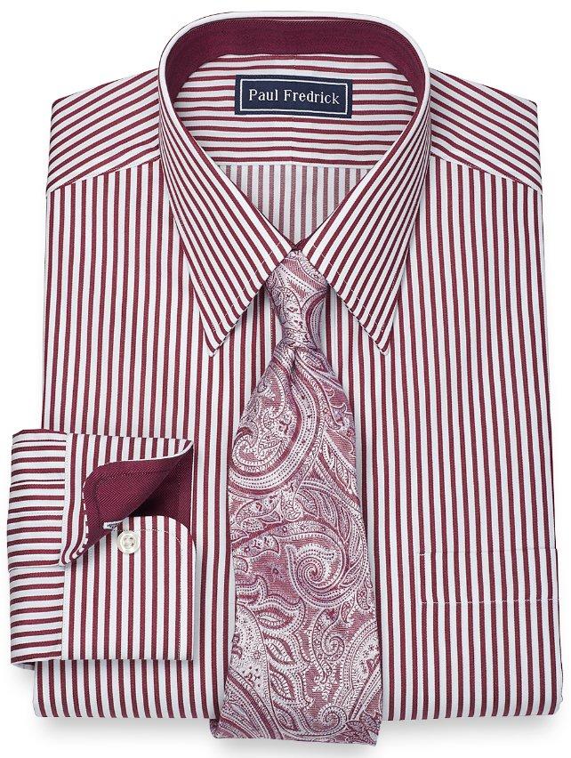 100% Cotton Satin Stripe Straight Collar Dress Shirt