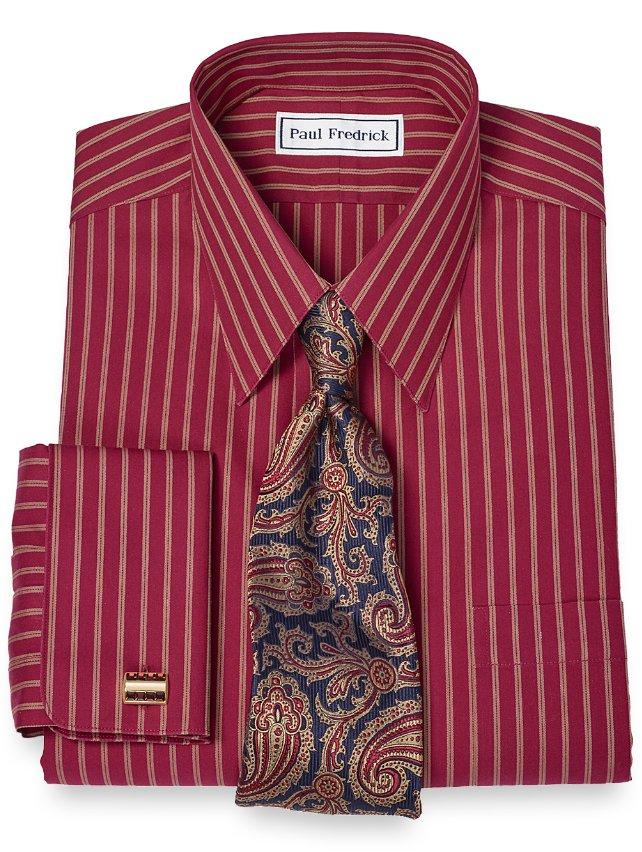 Slim Fit Non-Iron 2-Ply 100% Cotton Twin Stripe Straight Collar Dress Shirt