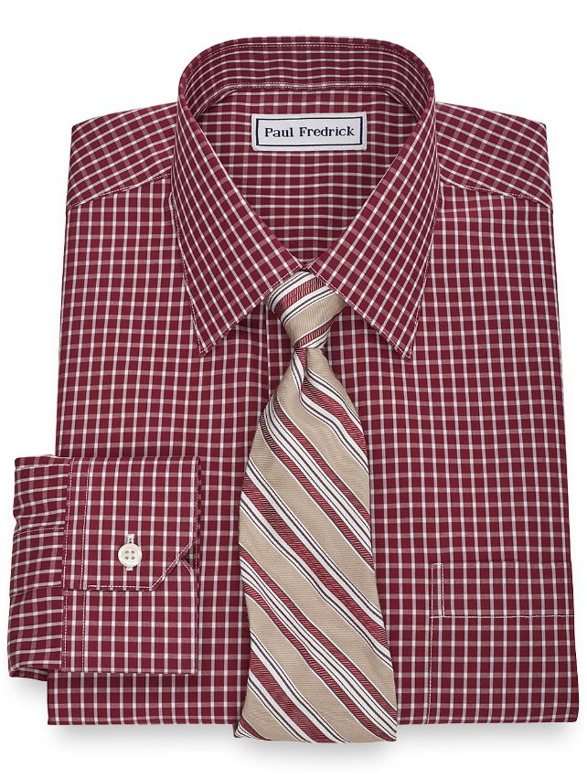 Non-Iron 2-Ply 100% Cotton Check Spread Collar Dress Shirt