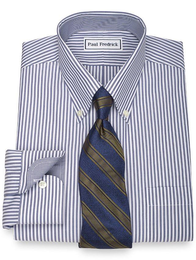 Slim Fit Non-Iron 2-Ply 100% Cotton Bengal Stripe Button Down Collar Dress Shirt