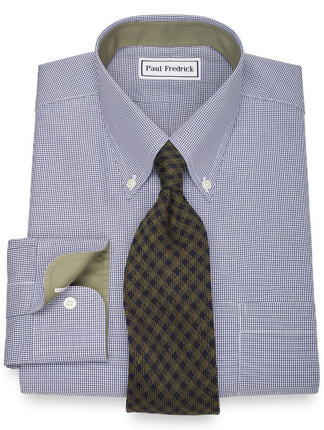 Slim Fit Non-Iron 2-Ply 100% Cotton Gingham Button Down Collar Dress Shirt