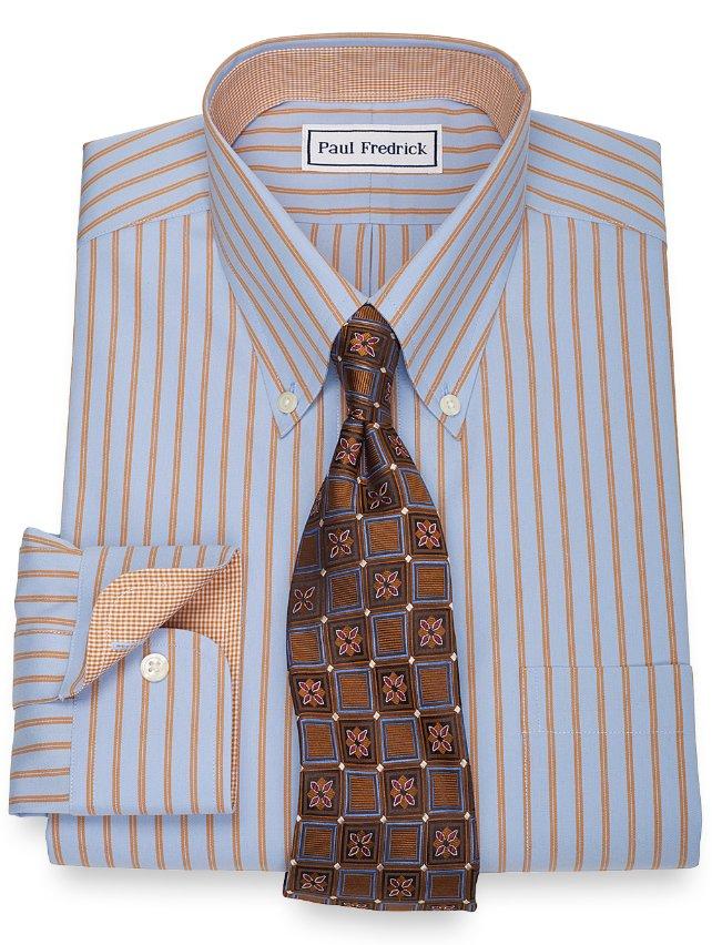Non-Iron 2-Ply 100% Cotton Twin Stripe Button Down Collar Dress Shirt