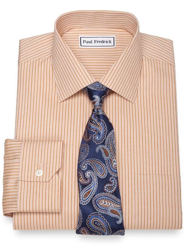 Non-Iron 2-Ply 100% Cotton Tonal Stripe Spread Collar Dress Shirt