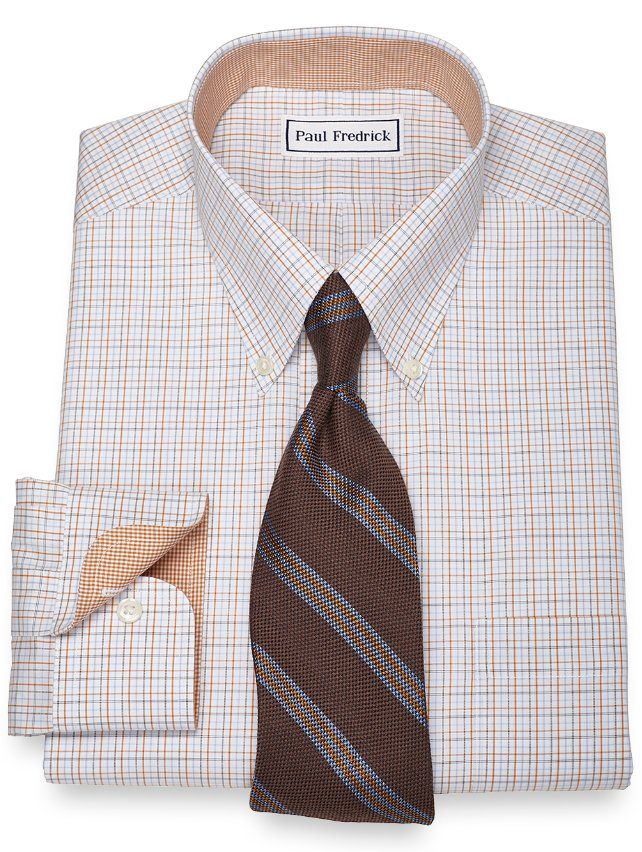Slim Fit Non-Iron 2-Ply 100% Cotton Tattersall Button Down Collar Dress Shirt