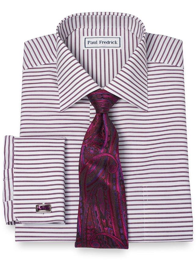 Slim Fit Non-Iron 2-Ply 100% Cotton Horizontal Stripe Spread Collar Dress Shirt