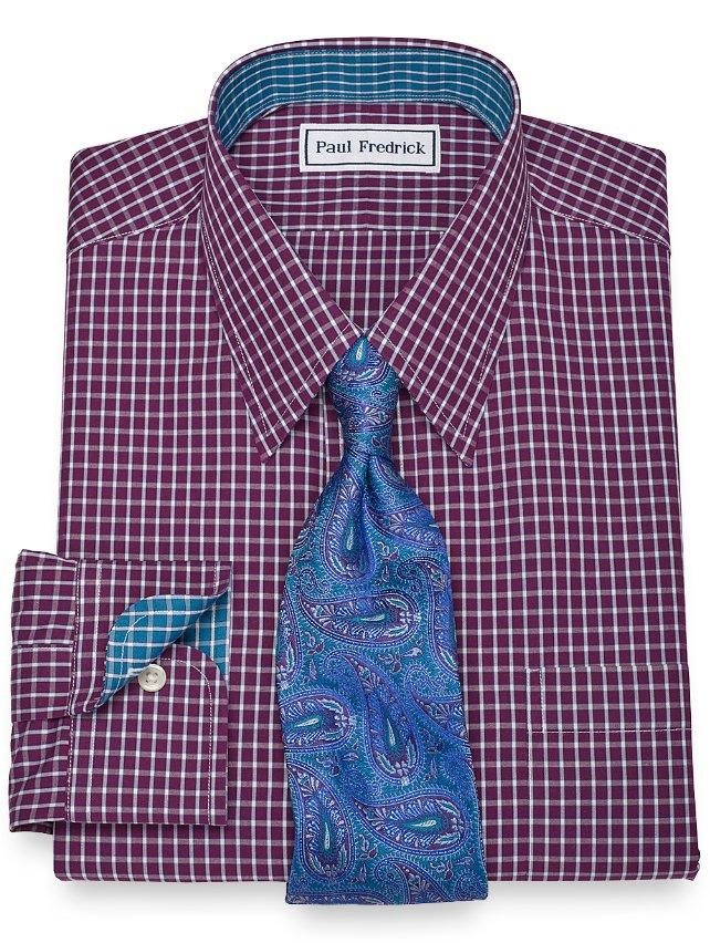 Slim Fit Non-Iron 2-Ply 100% Cotton Check Straight Collar Dress Shirt