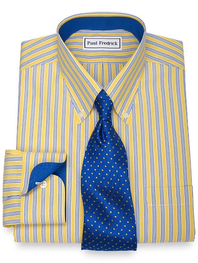 Extra Slim Fit Non-Iron 2-Ply 100% Cotton Stripe Button Down Collar Dress Shirt