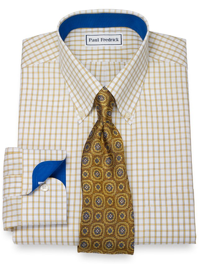 Slim Fit Non-Iron 2-Ply 100% Cotton Windowpane Button Down Collar Dress Shirt