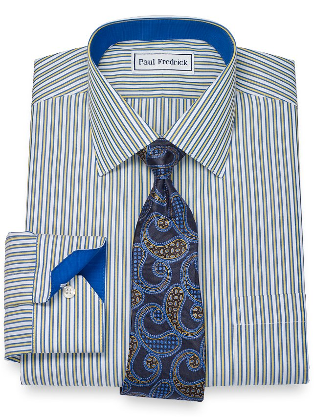Non-Iron 2-Ply 100% Cotton Framed Stripe Spread Collar Dress Shirt