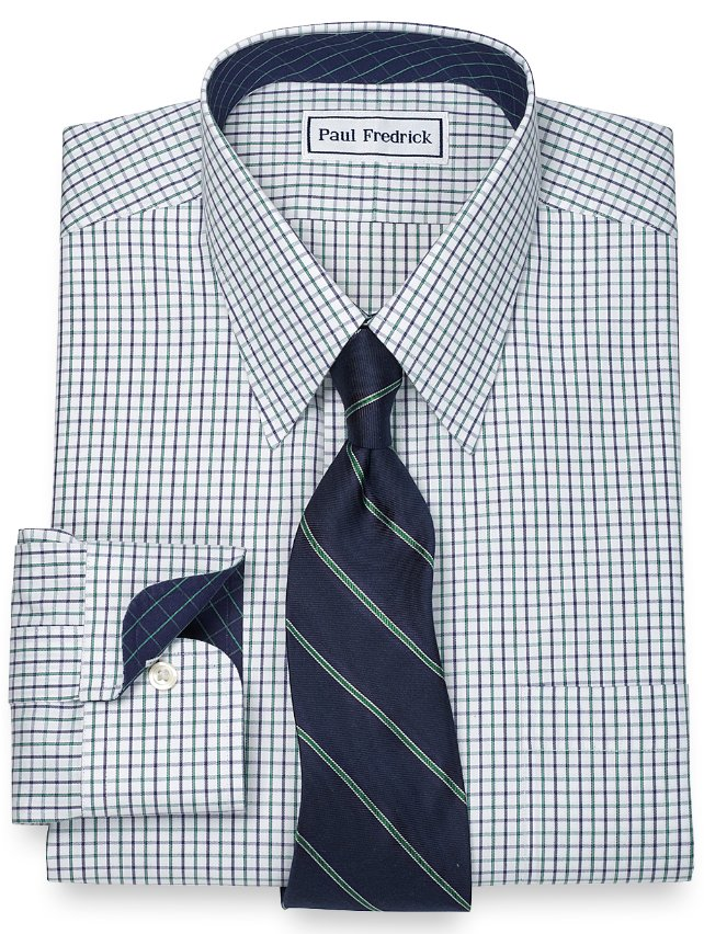 Slim Fit Non-Iron 2-Ply 100% Cotton Check Straight Collar Dress Shirt
