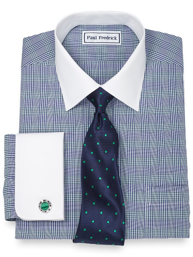 Slim Fit Non-Iron 2-Ply 100% Cotton Glen Plaid Spread Collar Dress Shirt
