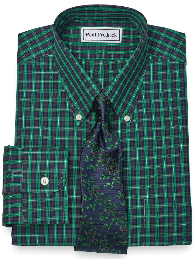 Slim Fit Non-Iron 2-Ply 100% Cotton Tartan Button Down Collar Dress Shirt