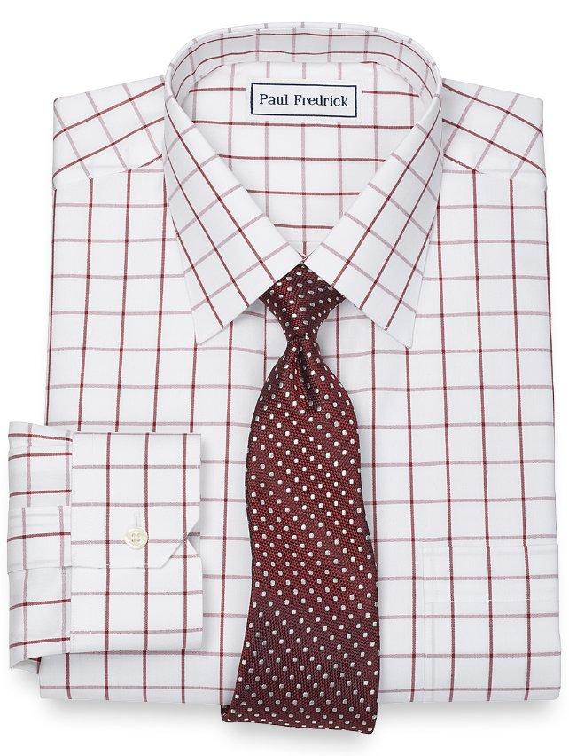 Slim Fit Non-Iron 2-Ply 100% Cotton Windowpane Spread Collar Dress Shirt