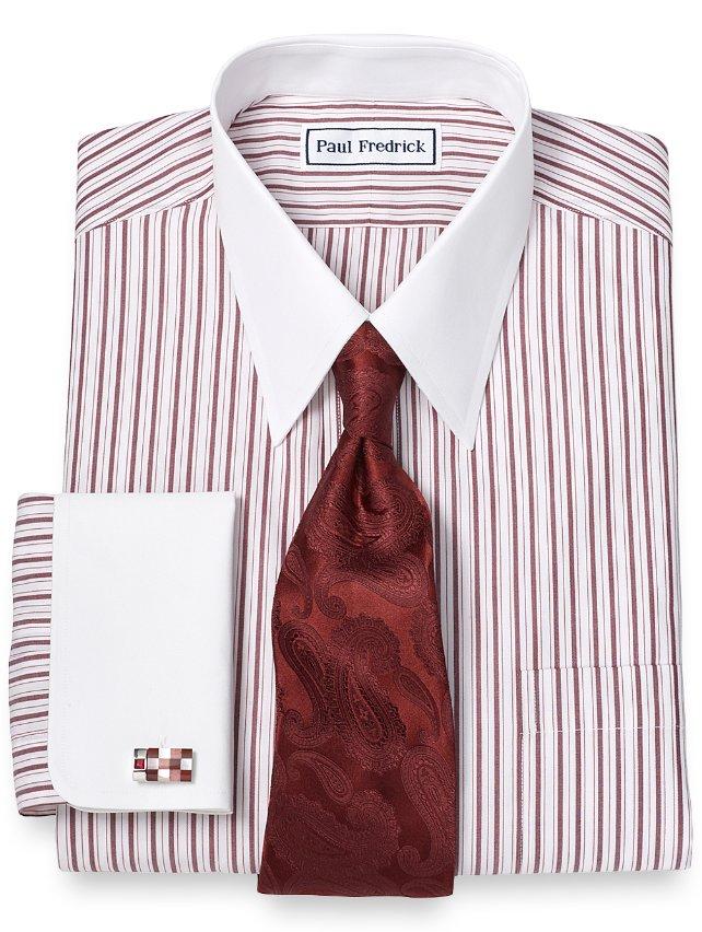 Slim Fit Non-Iron 2-Ply Cotton Stripe Straight Collar French Cuff Dress Shirt