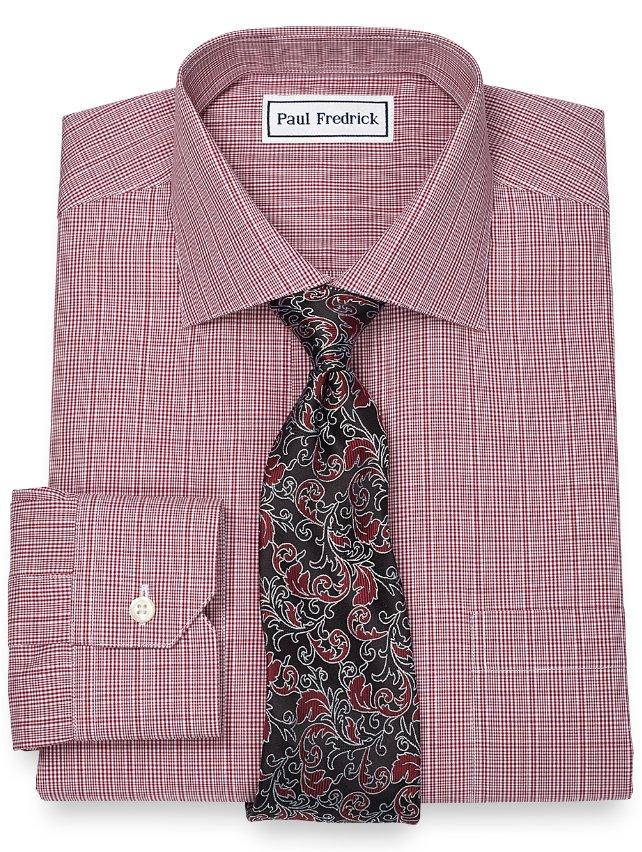 Non-Iron 2-Ply 100% Cotton Glen Plaid Spread Collar Dress Shirt