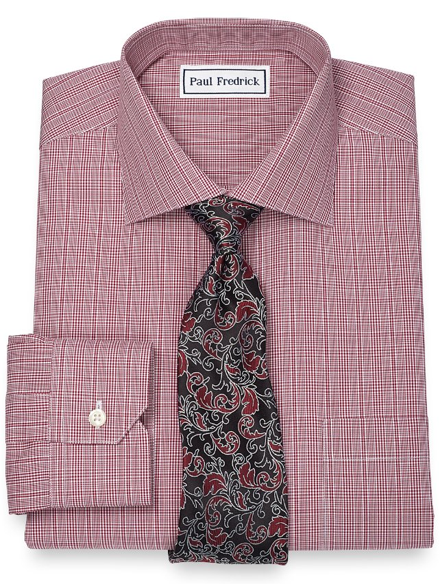 Slim Fit Non-Iron 2-Ply 100% Cotton Glen Plaid Spread Collar Dress Shirt