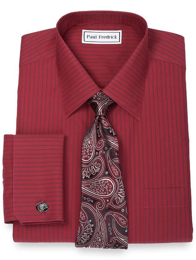 Non-Iron 2-Ply 100% Cotton Shadow Stripe Spread Collar French Cuff Dress Shirt