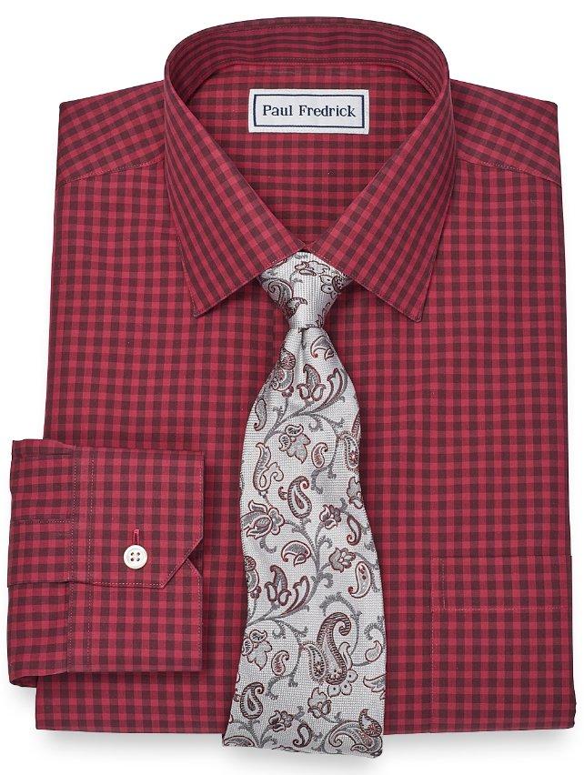 Slim Fit Non-Iron 2-Ply 100% Cotton Gingham Spread Collar Dress Shirt