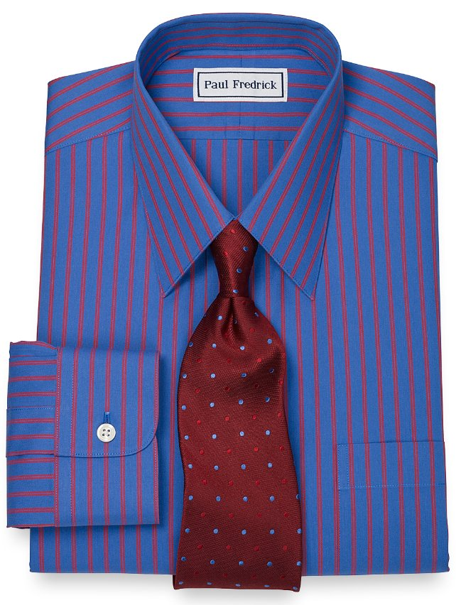 Non-Iron 2-Ply 100% Cotton Twin Stripe Straight Collar Dress Shirt