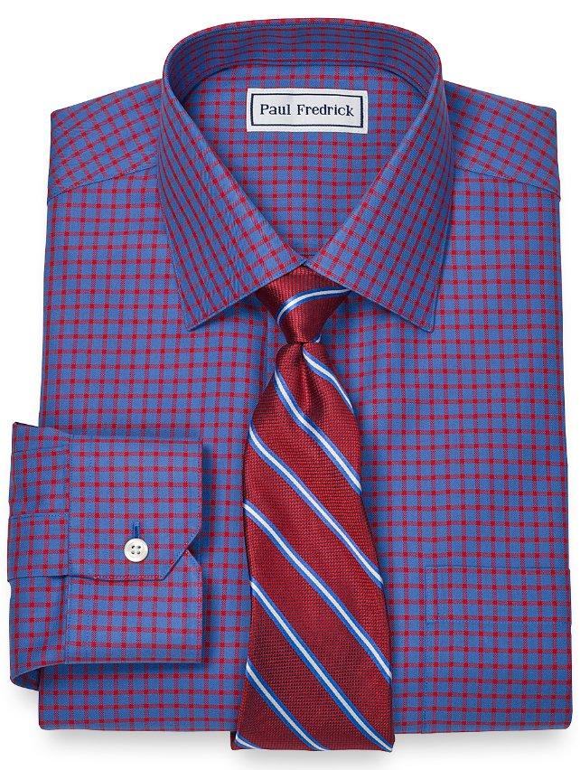 Non-Iron 2-Ply 100% Cotton Windowpane Spread Collar Dress Shirt