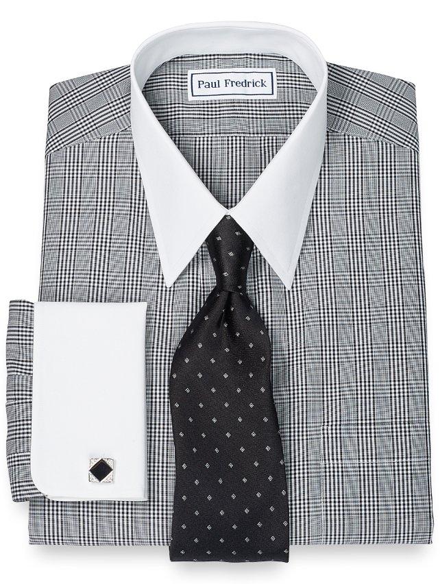 Slim Fit Non-Iron 2-Ply 100% Cotton Glen Plaid Straight Collar Dress Shirt