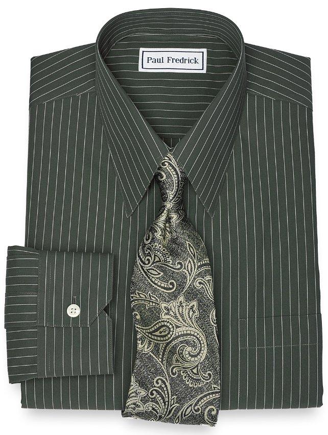 Slim Fit Non-Iron 2-Ply 100% Cotton Fine Line Stripe Straight Collar Dress Shirt