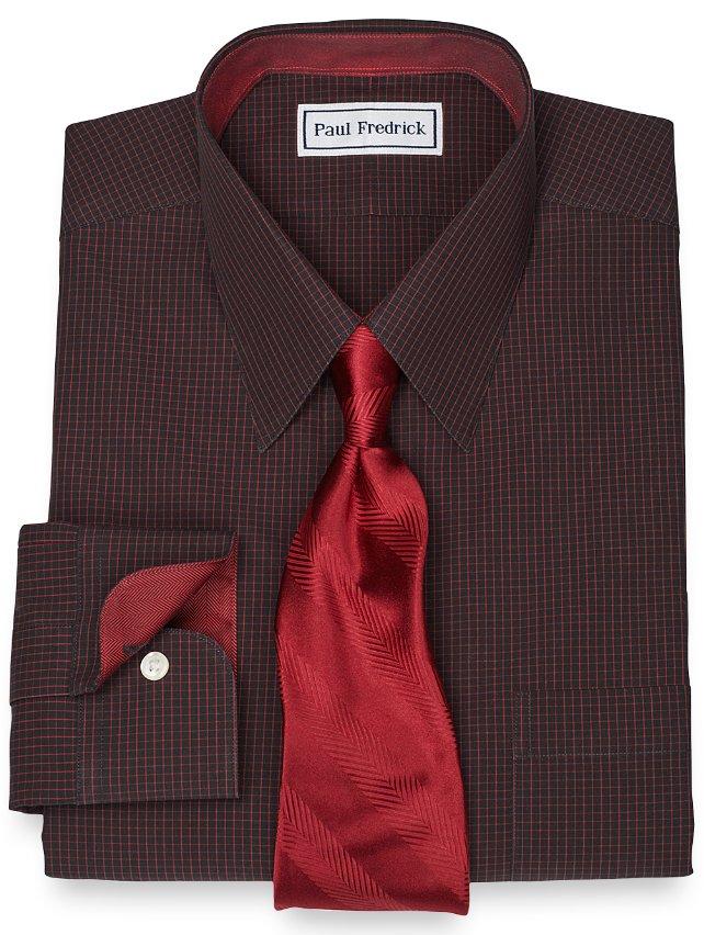 Slim Fit Non-Iron 2-Ply 100% Cotton Mini Grid Straight Collar Dress Shirt