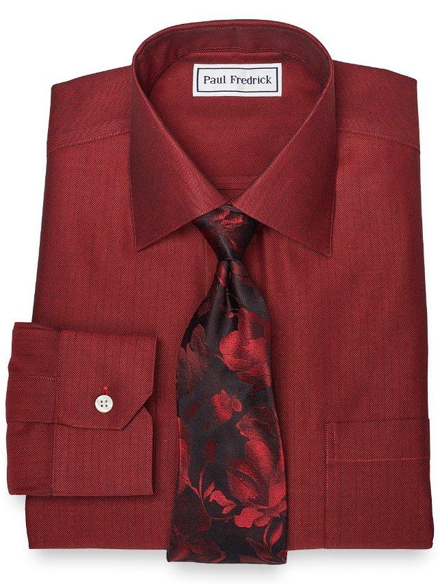Non-Iron 2-Ply 100% Cotton Herringbone Spread Collar Dress Shirt