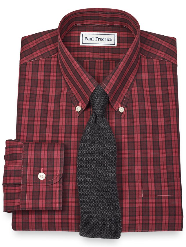 Slim Fit Non-Iron 2-Ply 100% Cotton Plaid Button Down Collar Dress Shirt