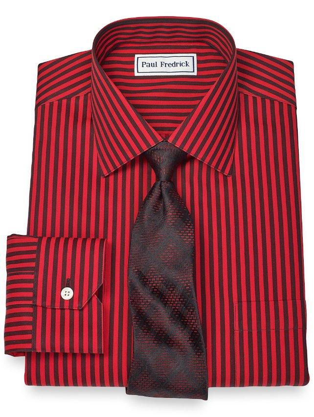 Slim Fit Non-Iron 2-Ply 100% Cotton Alternating Stripe Spread Collar Dress Shirt