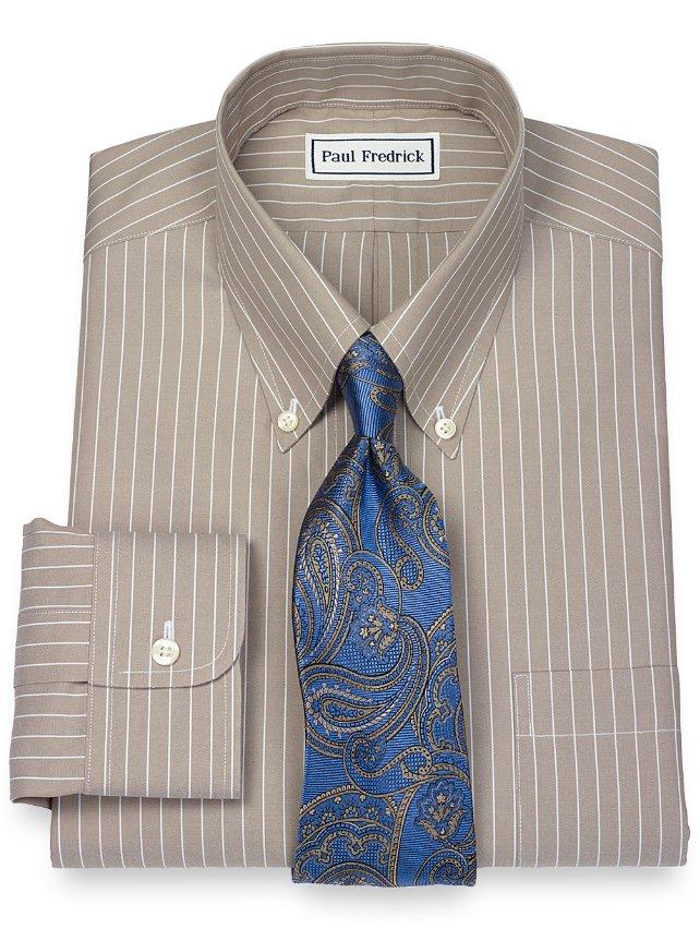Non-Iron 2-Ply 100% Cotton Fine Line Stripe Button Down Collar Dress Shirt