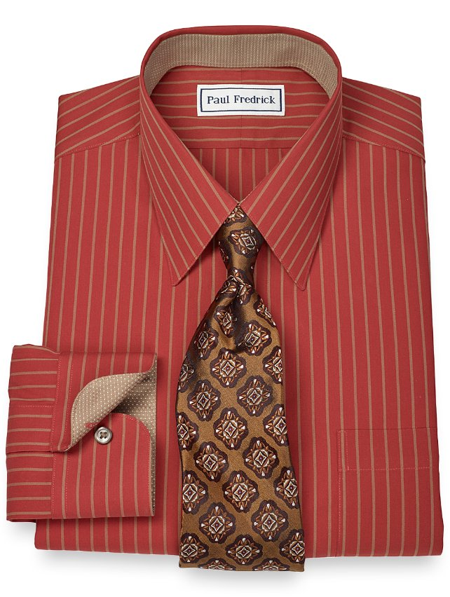 Non-Iron 2-Ply 100% Cotton Stripe Straight Collar Dress Shirt