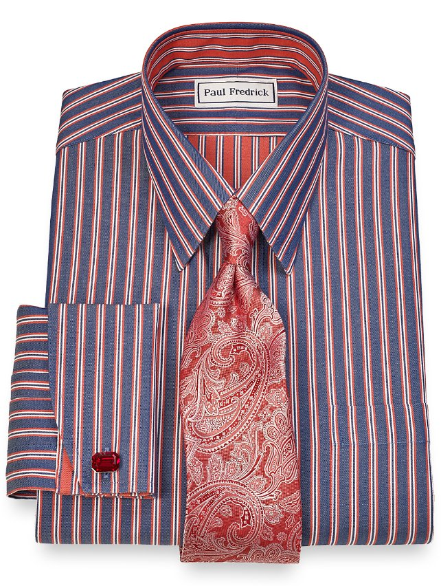 Slim Fit Non-Iron 2-Ply Cotton Stripe Straight Collar French Cuff Dress Shirt