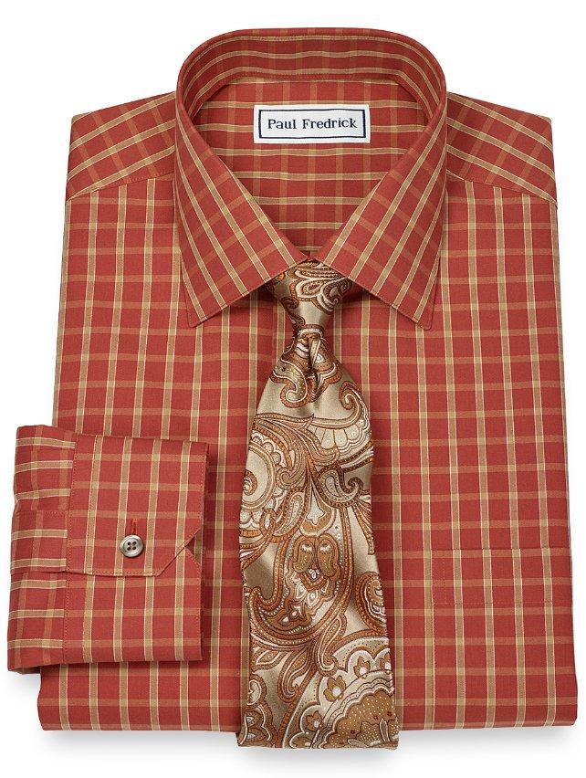 Slim Fit Non-Iron 2-Ply 100% Cotton Check Spread Collar Dress Shirt