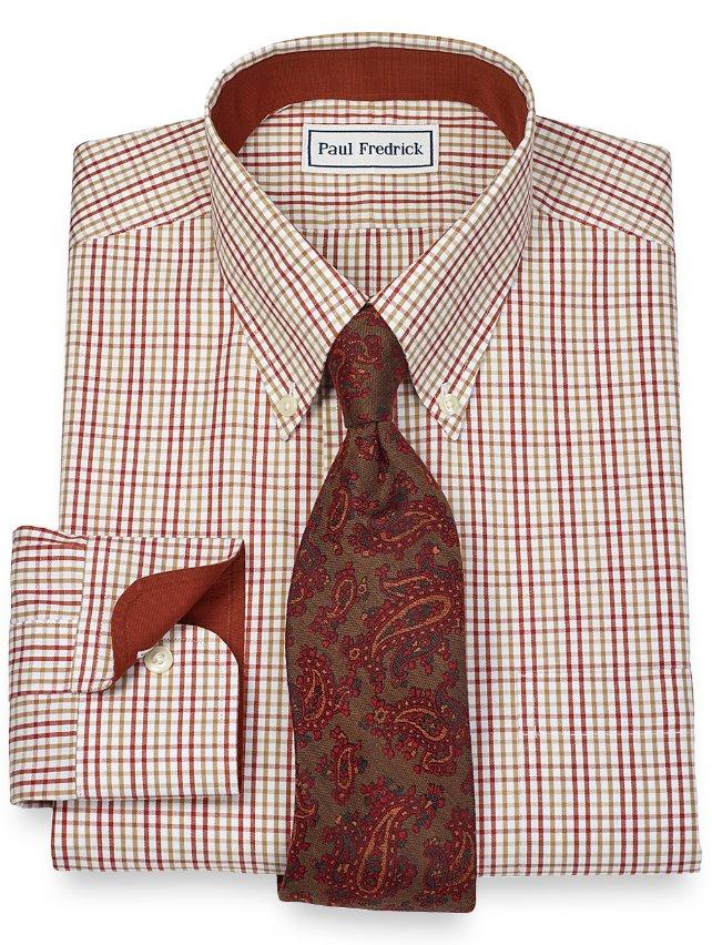Non-Iron 2-Ply 100% Cotton Tattersall Button Down Collar Dress Shirt