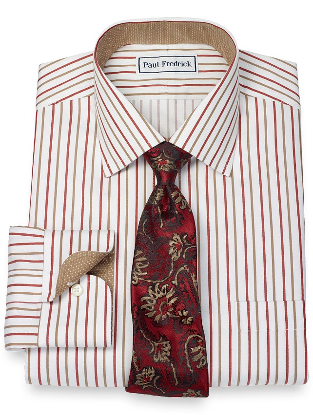 Non-Iron 2-Ply 100% Cotton Alternating Stripe Spread Collar Dress Shirt