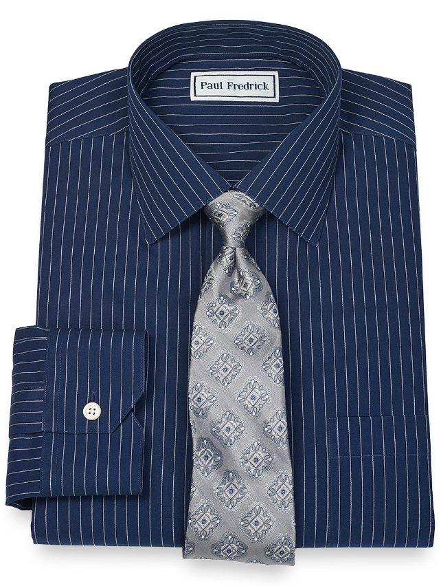 Slim Fit Non-Iron 2-Ply 100% Cotton Fine Line Stripe Spread Collar Dress Shirt