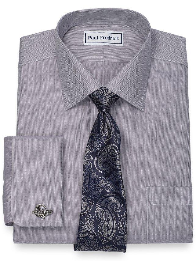 Slim Fit Non-Iron 2-Ply 100% Cotton Herringbone Spread Collar Dress Shirt
