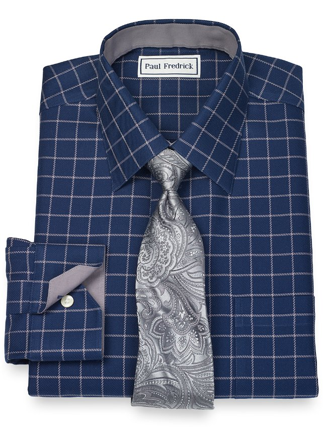 Non-Iron 2-Ply 100% Cotton Grid Spread Collar Dress Shirt