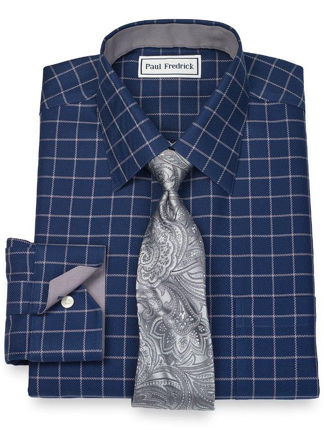 Slim Fit Non-Iron 2-Ply 100% Cotton Grid Spread Collar Dress Shirt