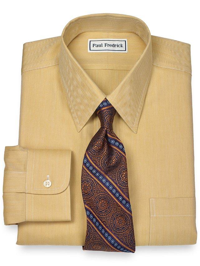 Non-Iron 2-Ply 100% Cotton Herringbone Straight Collar Dress Shirt