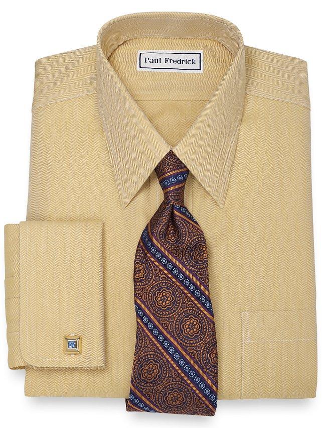 Slim Fit Non-Iron 2-Ply 100% Cotton Herringbone Straight Collar Dress Shirt