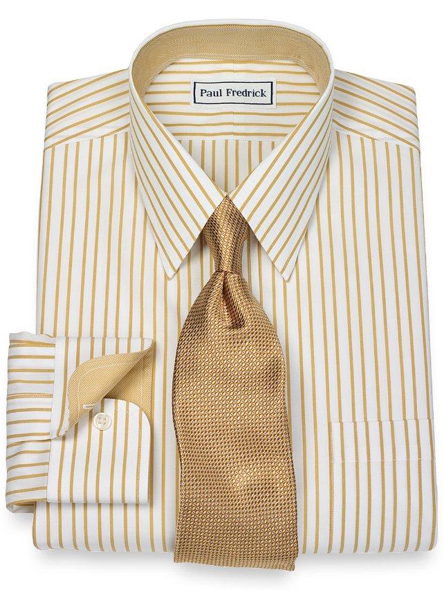 Slim Fit Non-Iron 2-Ply 100% Cotton Stripe Straight Collar Dress Shirt