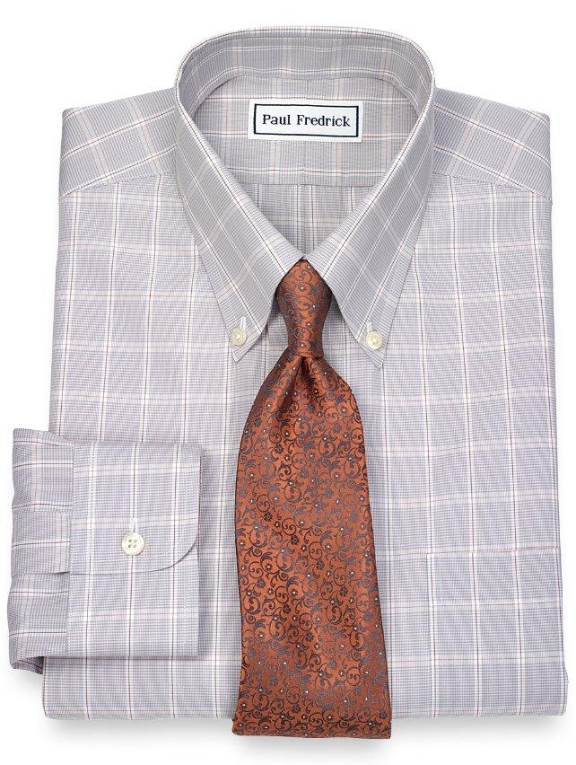 Non-Iron 2-Ply 100% Cotton Windowpane Button Down Collar Dress Shirt