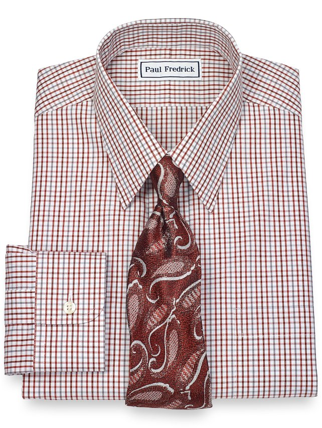 Slim Fit Non-Iron 2-Ply 100% Cotton Tattersall Straight Collar Dress Shirt
