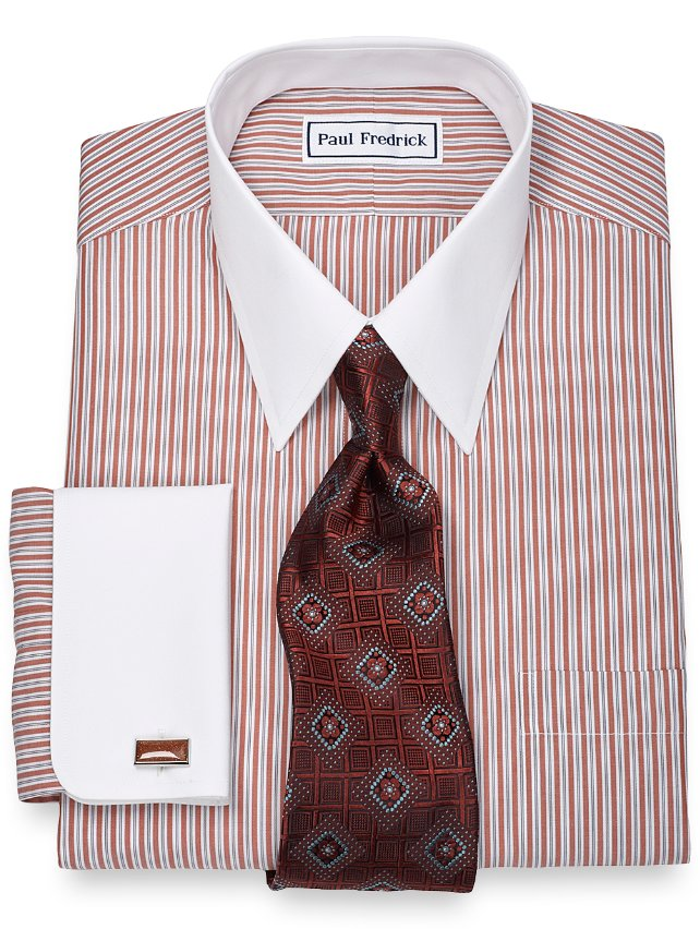 Slim Fit Non-Iron 2-Ply 100% Cotton Stripe Straight Collar Dress Shirt