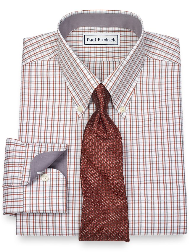 Slim Fit Non-Iron 2-Ply 100% Cotton Grid Button Down Collar Dress Shirt