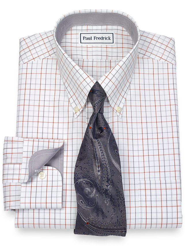 Slim Fit Non-Iron 2-Ply 100% Cotton Check Button Down Collar Dress Shirt